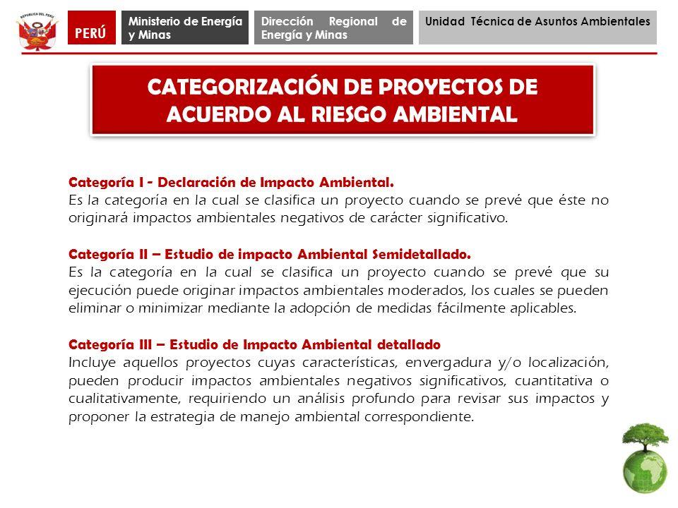 Ministerio de Energía y Minas Dirección Regional de Energía y Minas Unidad Técnica de Asuntos Ambientales PERÚ PROCEDIMIENTO DE CLASIFICACIÓN CATEGORÍA II (TdR)