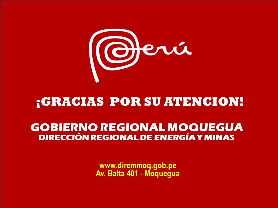 GOBIERNO REGIONAL MOQUEGUA DIRECCIÓN REGIONAL DE ENERGÍA Y MINAS www.diremmoq.gob.pe Av. Balta 401 - Moquegua ¡GRACIAS POR SU ATENCION!