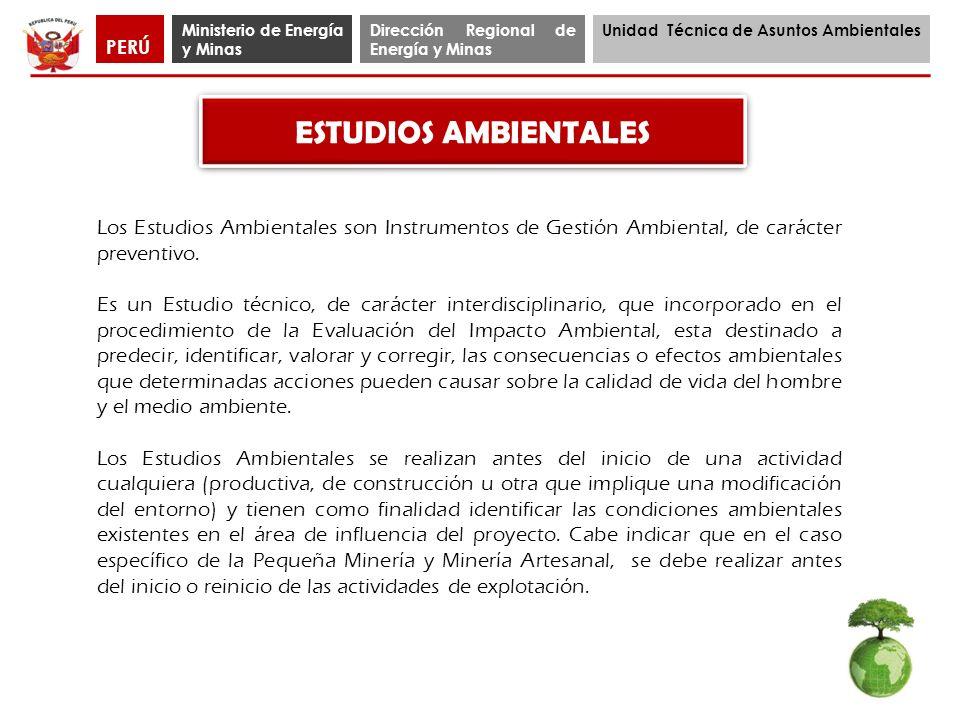 Ministerio de Energía y Minas Dirección Regional de Energía y Minas Unidad Técnica de Asuntos Ambientales PERÚ Los Estudios Ambientales son Instrument