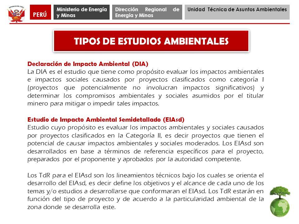 Ministerio de Energía y Minas Dirección Regional de Energía y Minas Unidad Técnica de Asuntos Ambientales PERÚ Declaración de Impacto Ambiental (DIA)