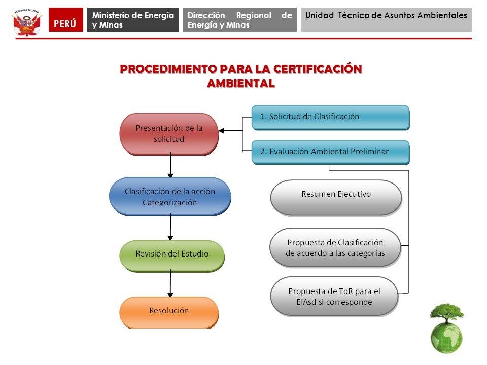 Ministerio de Energía y Minas Dirección Regional de Energía y Minas Unidad Técnica de Asuntos Ambientales PERÚ PROCEDIMIENTO PARA LA CERTIFICACIÓN AMB