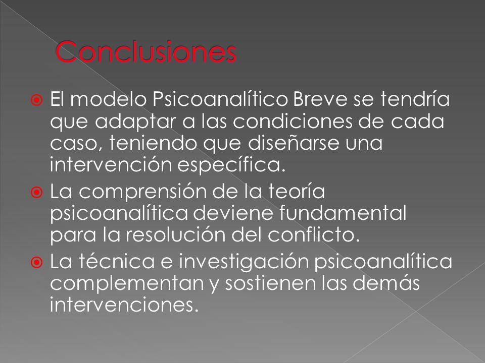 El modelo Psicoanalítico Breve se tendría que adaptar a las condiciones de cada caso, teniendo que diseñarse una intervención específica. La comprensi