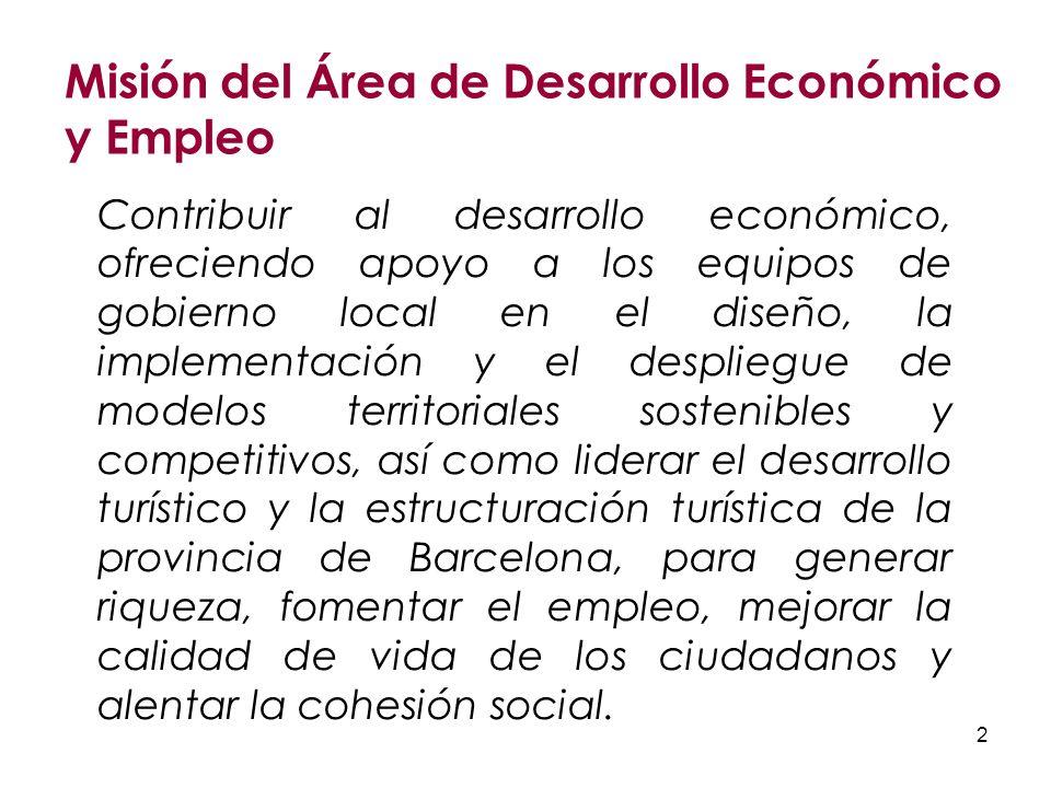 2 Contribuir al desarrollo económico, ofreciendo apoyo a los equipos de gobierno local en el diseño, la implementación y el despliegue de modelos territoriales sostenibles y competitivos, así como liderar el desarrollo turístico y la estructuración turística de la provincia de Barcelona, para generar riqueza, fomentar el empleo, mejorar la calidad de vida de los ciudadanos y alentar la cohesión social.