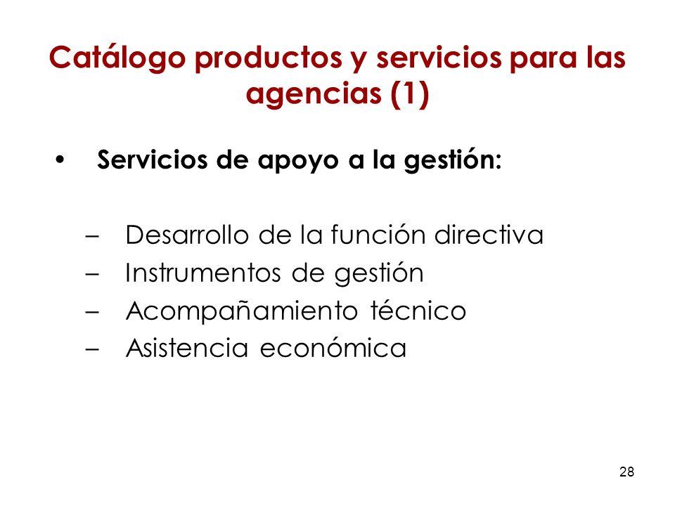 28 Servicios de apoyo a la gestión: –Desarrollo de la función directiva –Instrumentos de gestión –Acompañamiento técnico –Asistencia económica Catálogo productos y servicios para las agencias (1)