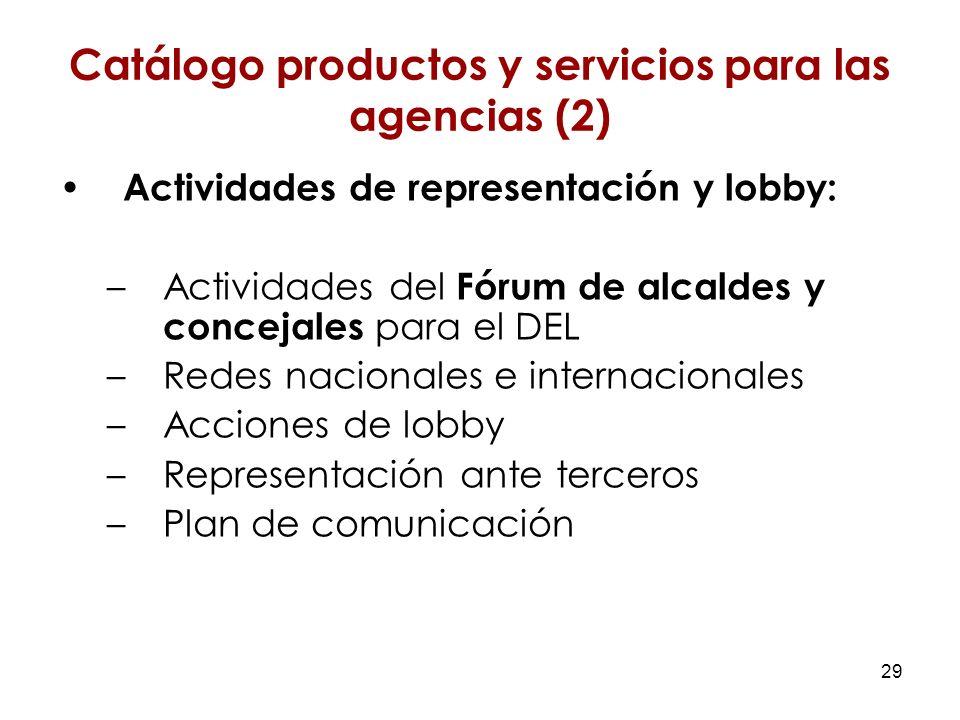 29 Actividades de representación y lobby: –Actividades del Fórum de alcaldes y concejales para el DEL –Redes nacionales e internacionales –Acciones de lobby –Representación ante terceros –Plan de comunicación Catálogo productos y servicios para las agencias (2)