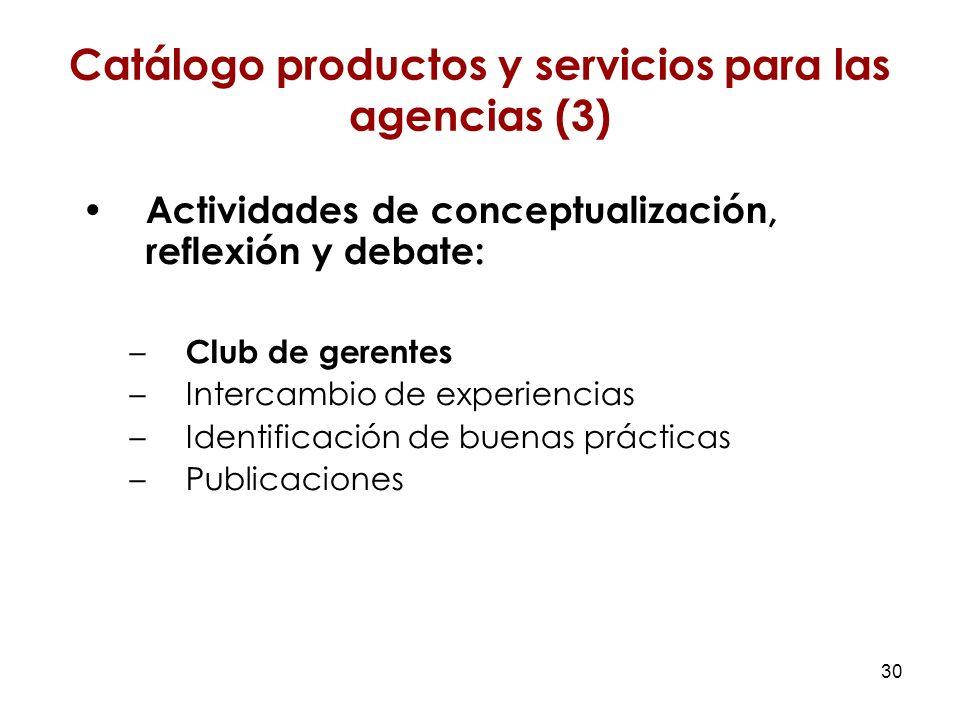 30 Actividades de conceptualización, reflexión y debate: – Club de gerentes –Intercambio de experiencias –Identificación de buenas prácticas –Publicaciones Catálogo productos y servicios para las agencias (3)