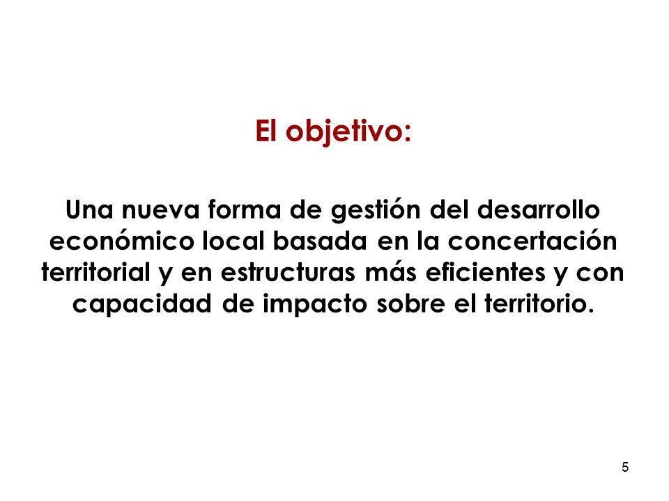 5 El objetivo: Una nueva forma de gestión del desarrollo económico local basada en la concertación territorial y en estructuras más eficientes y con capacidad de impacto sobre el territorio.
