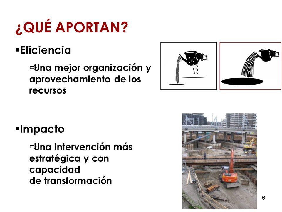 6 Eficiencia Una mejor organización y aprovechamiento de los recursos Impacto Una intervención más estratégica y con capacidad de transformación ¿QUÉ APORTAN?