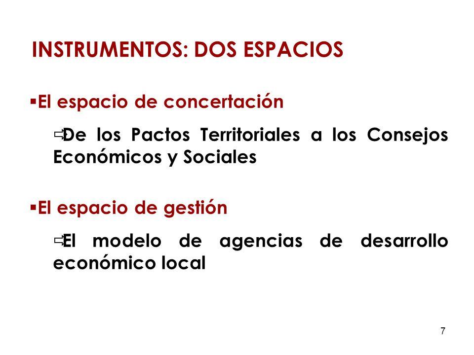 7 El espacio de concertación De los Pactos Territoriales a los Consejos Económicos y Sociales El espacio de gestión El modelo de agencias de desarrollo económico local INSTRUMENTOS: DOS ESPACIOS