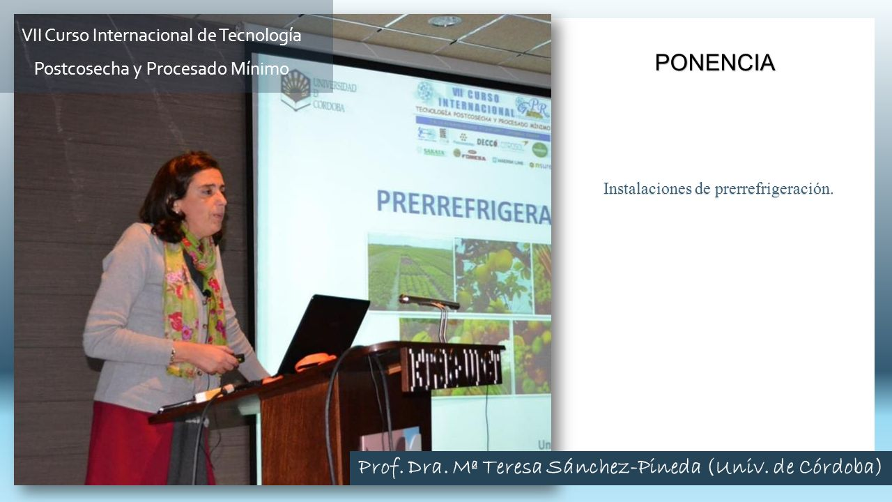 Instalaciones de prerrefrigeración. PONENCIA VII Curso Internacional de Tecnología Postcosecha y Procesado Mínimo Prof. Dra. Mª Teresa Sánchez-Pineda