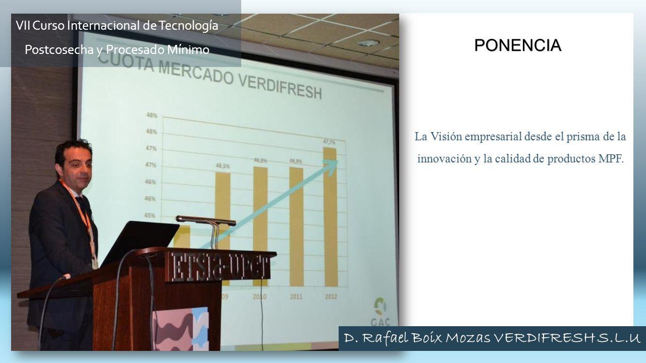 La Visión empresarial desde el prisma de la innovación y la calidad de productos MPF. PONENCIA VII Curso Internacional de Tecnología Postcosecha y Pro