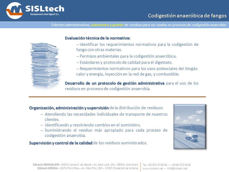 Trámites administrativos, subministro y gestión de residuos para ser usados en procesos de codigestión anaerobia Tel. +34 972 47 83 62 – +34 93 572 04