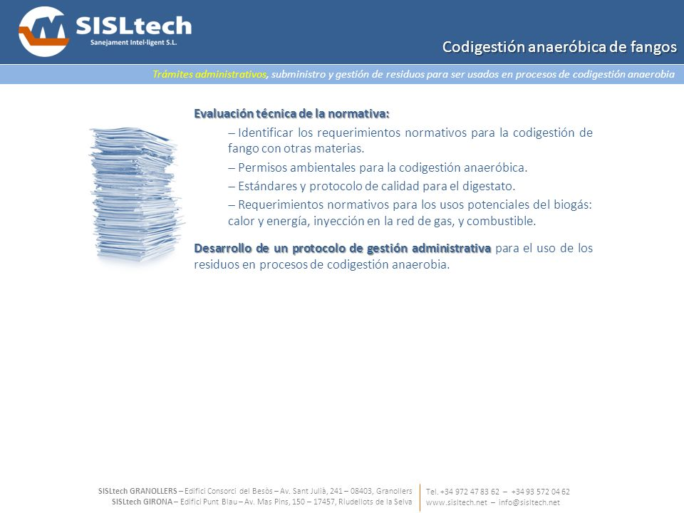 Trámites administrativos, subministro y gestión de residuos para ser usados en procesos de codigestión anaerobia Tel.