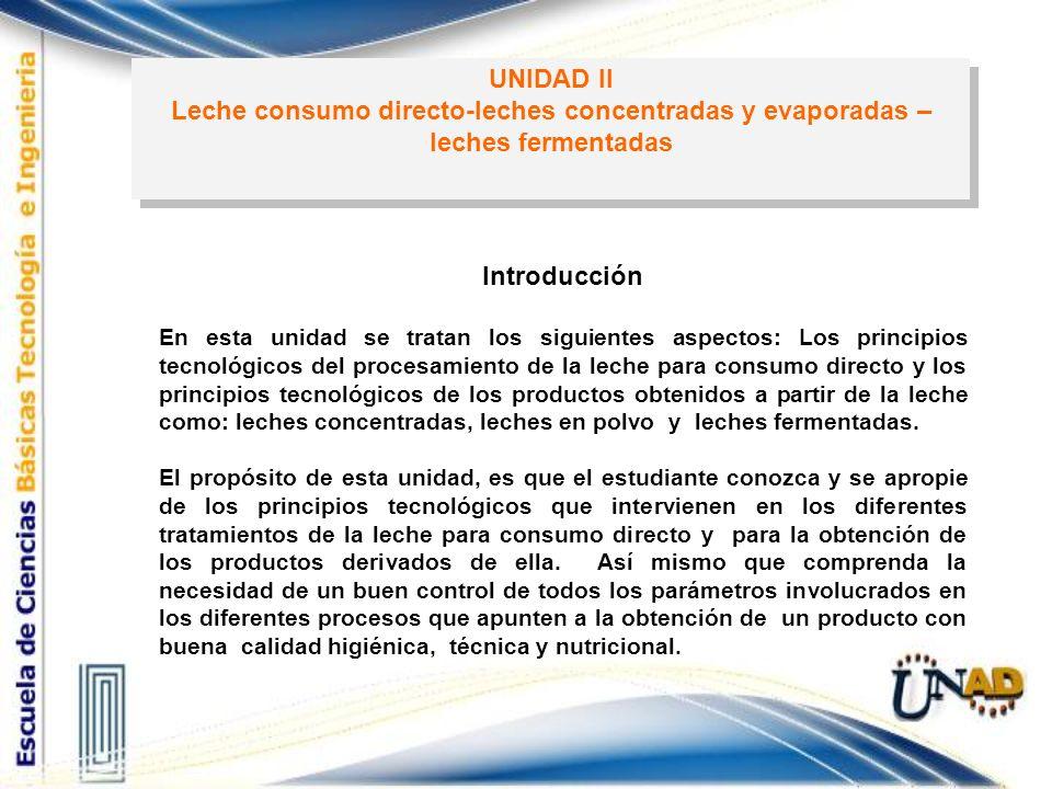 UNIDAD II Leche consumo directo-leches concentradas y evaporadas – leches fermentadas UNIDAD II Leche consumo directo-leches concentradas y evaporadas