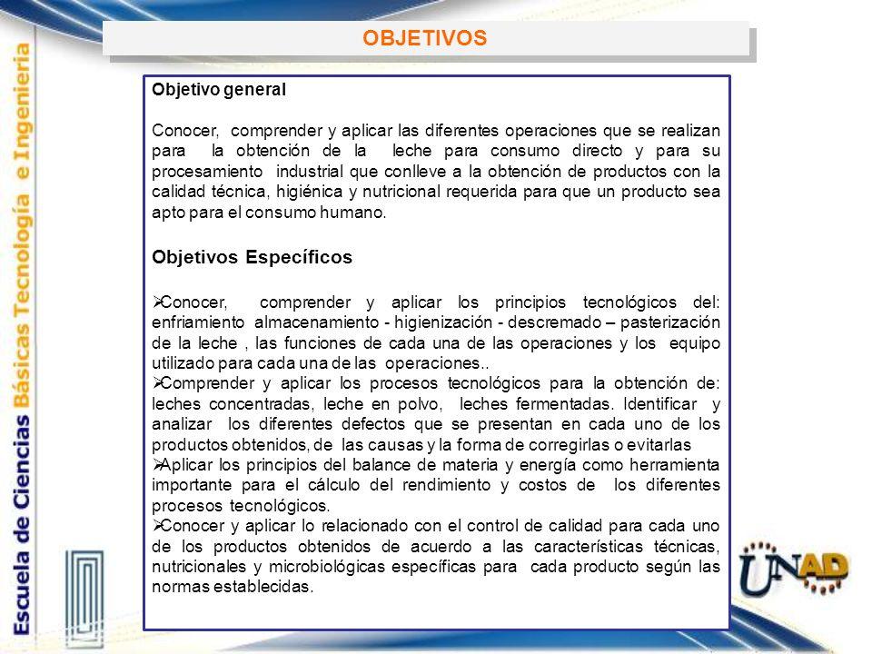 OBJETIVOS Objetivo general Conocer, comprender y aplicar las diferentes operaciones que se realizan para la obtención de la leche para consumo directo