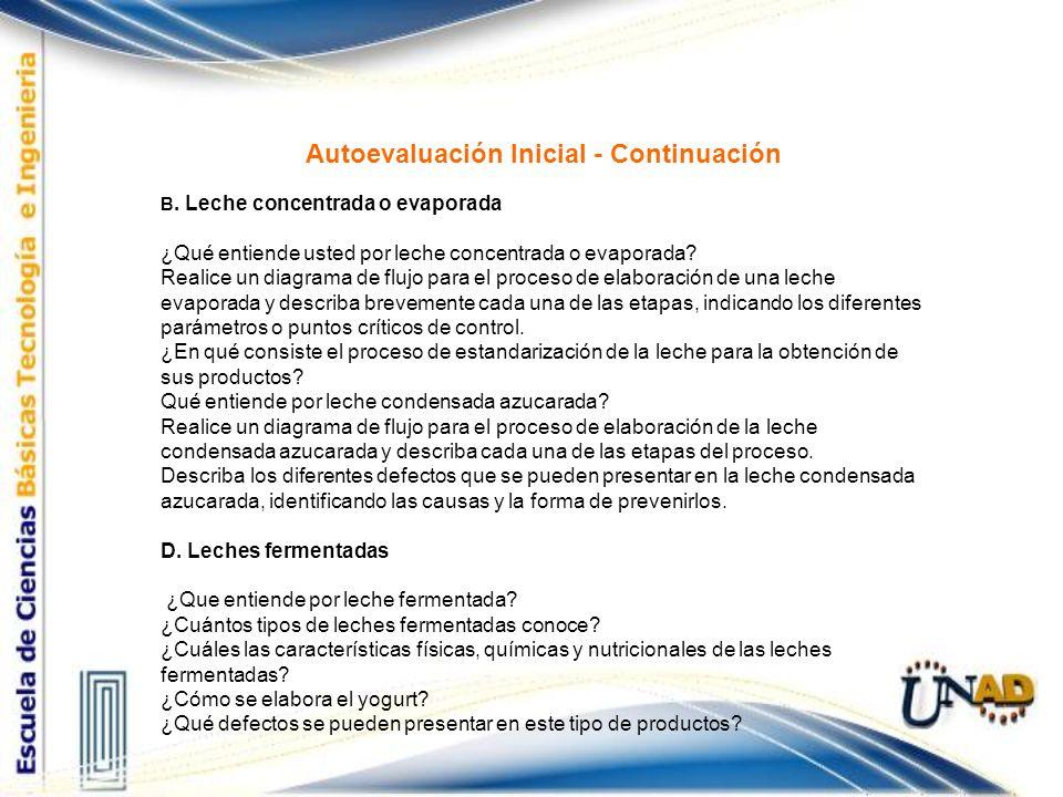 Autoevaluación Inicial - Continuación B. Leche concentrada o evaporada ¿Qué entiende usted por leche concentrada o evaporada? Realice un diagrama de f