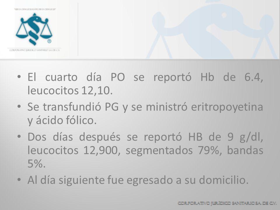 El cuarto día PO se reportó Hb de 6.4, leucocitos 12,10. Se transfundió PG y se ministró eritropoyetina y ácido fólico. Dos días después se reportó HB