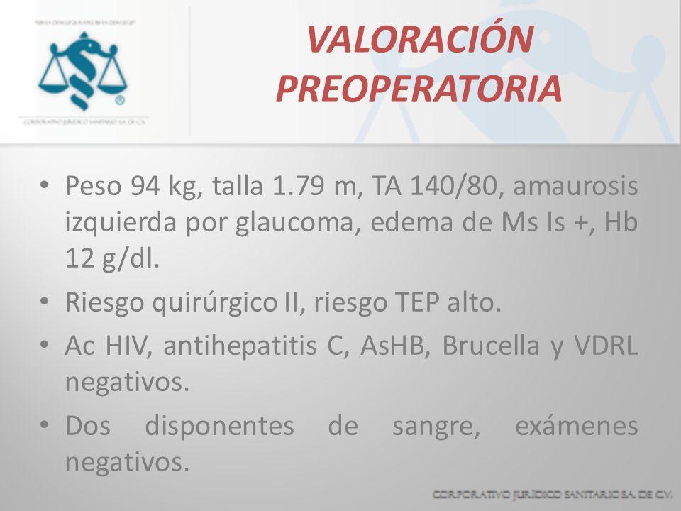 VALORACIÓN PREOPERATORIA Peso 94 kg, talla 1.79 m, TA 140/80, amaurosis izquierda por glaucoma, edema de Ms Is +, Hb 12 g/dl. Riesgo quirúrgico II, ri
