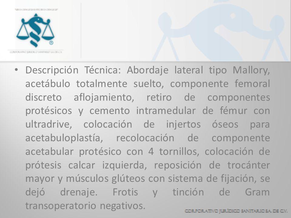 Descripción Técnica: Abordaje lateral tipo Mallory, acetábulo totalmente suelto, componente femoral discreto aflojamiento, retiro de componentes proté