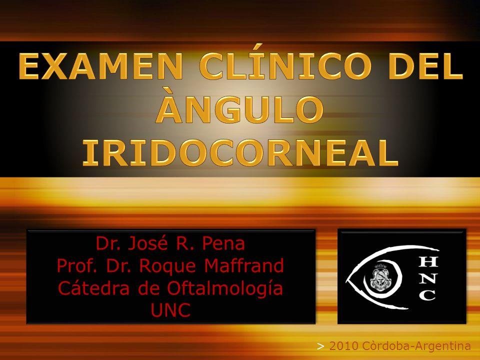 > 2010 Còrdoba-Argentina Dr. José R. Pena Prof. Dr. Roque Maffrand Cátedra de Oftalmología UNC Dr. José R. Pena Prof. Dr. Roque Maffrand Cátedra de Of