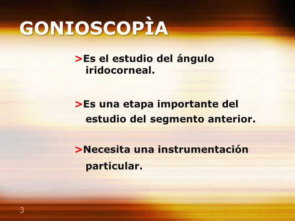 3 GONIOSCOPÌA >Es el estudio del ángulo iridocorneal. >Es una etapa importante del estudio del segmento anterior. >Necesita una instrumentación partic
