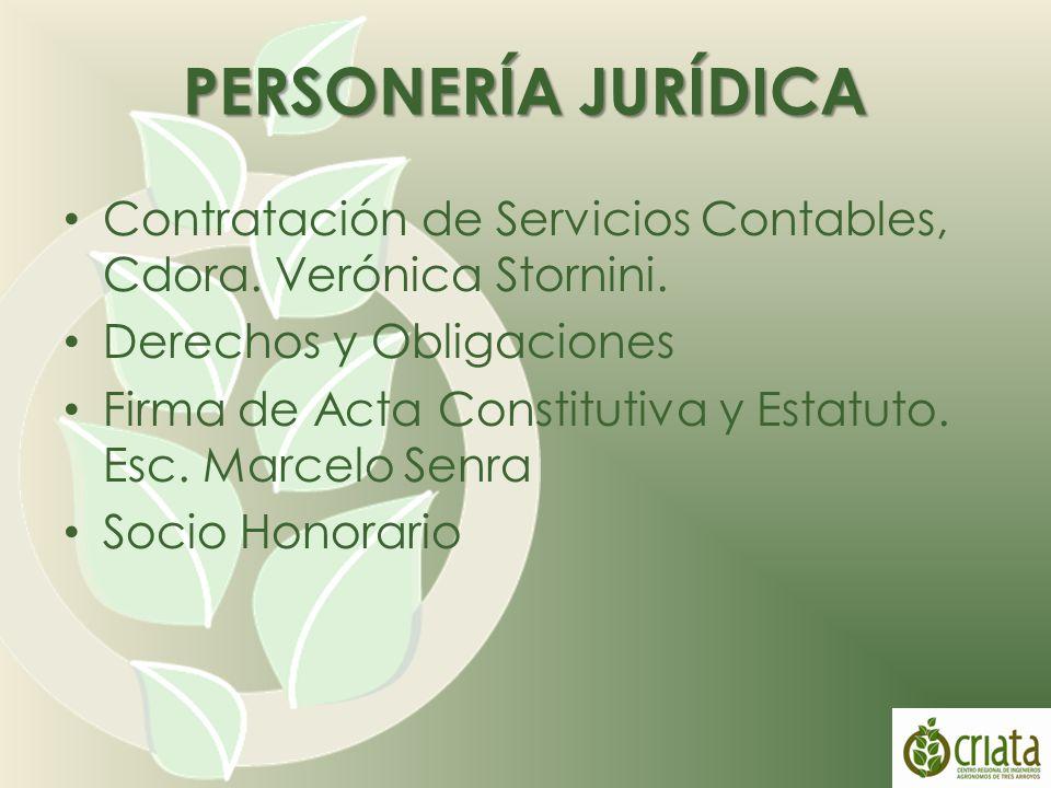Contratación de Servicios Contables, Cdora. Verónica Stornini.