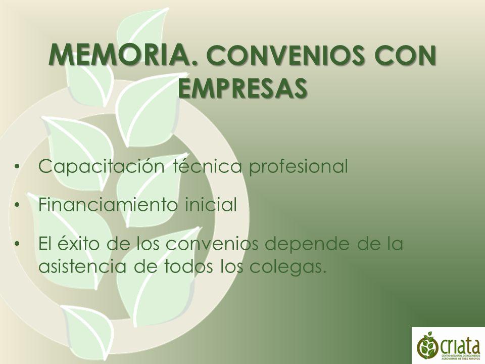 Capacitación técnica profesional Financiamiento inicial El éxito de los convenios depende de la asistencia de todos los colegas.