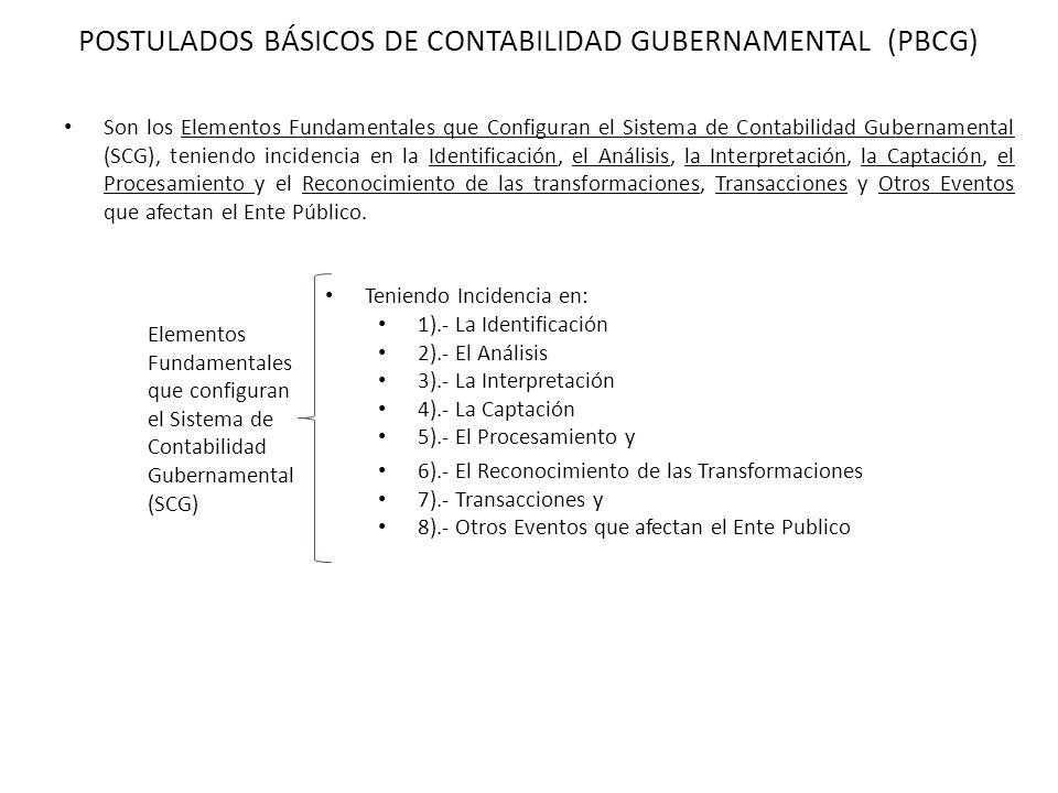 POSTULADOS BÁSICOS DE CONTABILIDAD GUBERNAMENTAL (PBCG) Teniendo Incidencia en: 1).- La Identificación 2).- El Análisis 3).- La Interpretación 4).- La
