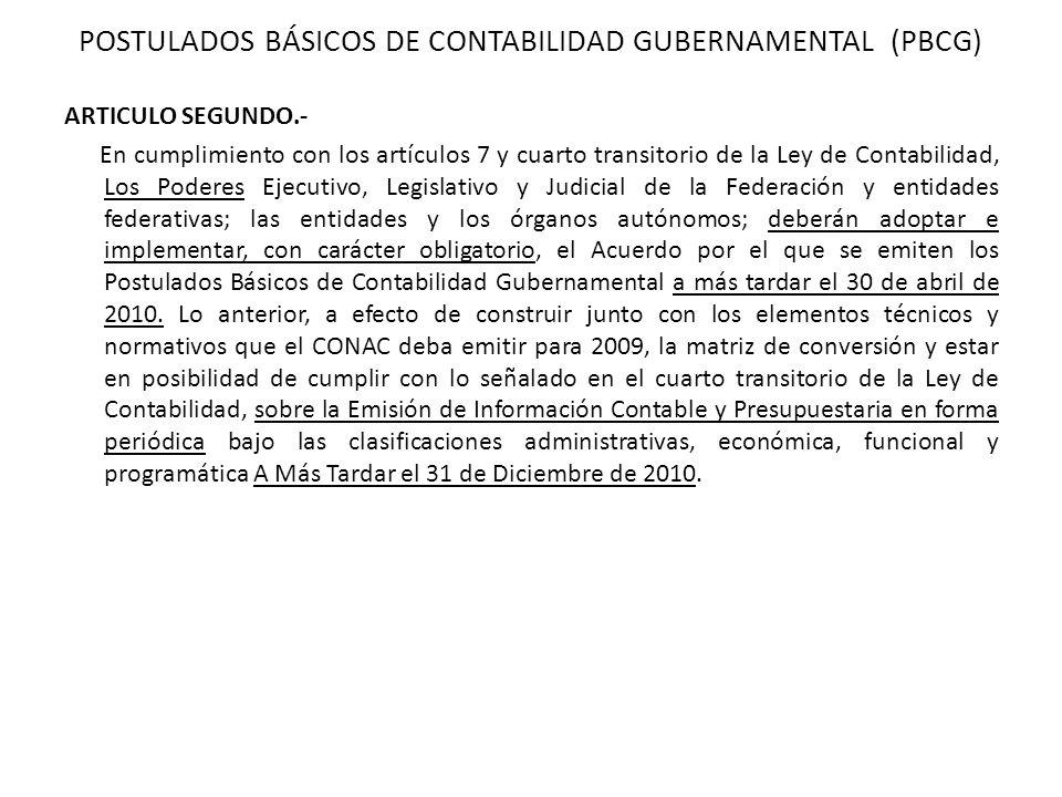ARTICULO SEGUNDO.- En cumplimiento con los artículos 7 y cuarto transitorio de la Ley de Contabilidad, Los Poderes Ejecutivo, Legislativo y Judicial d
