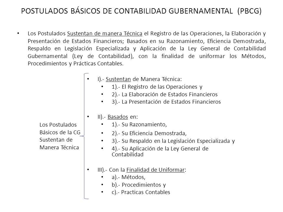 POSTULADOS BÁSICOS DE CONTABILIDAD GUBERNAMENTAL (PBCG) Los Postulados Sustentan de manera Técnica el Registro de las Operaciones, la Elaboración y Pr