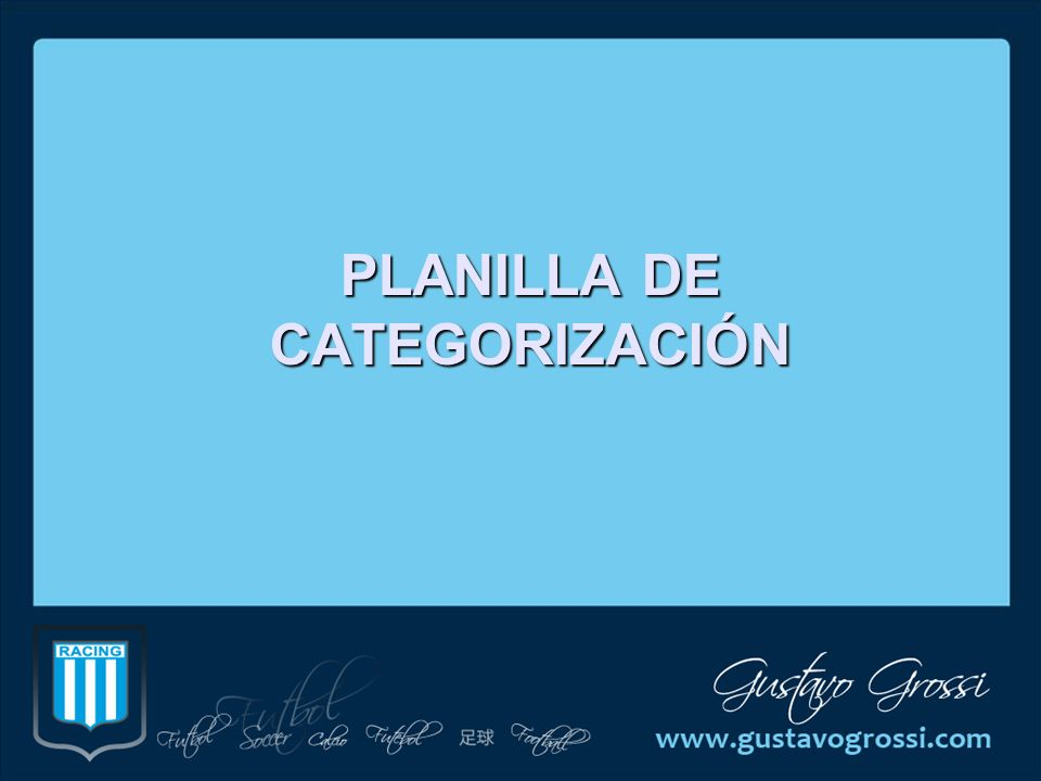 PLANILLA DE CATEGORIZACIÓN