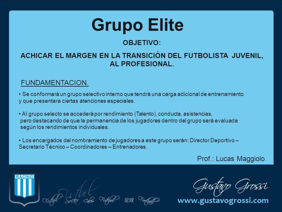 Grupo Elite OBJETIVO: ACHICAR EL MARGEN EN LA TRANSICIÓN DEL FUTBOLISTA JUVENIL, AL PROFESIONAL. FUNDAMENTACION. Se conformará un grupo selectivo inte