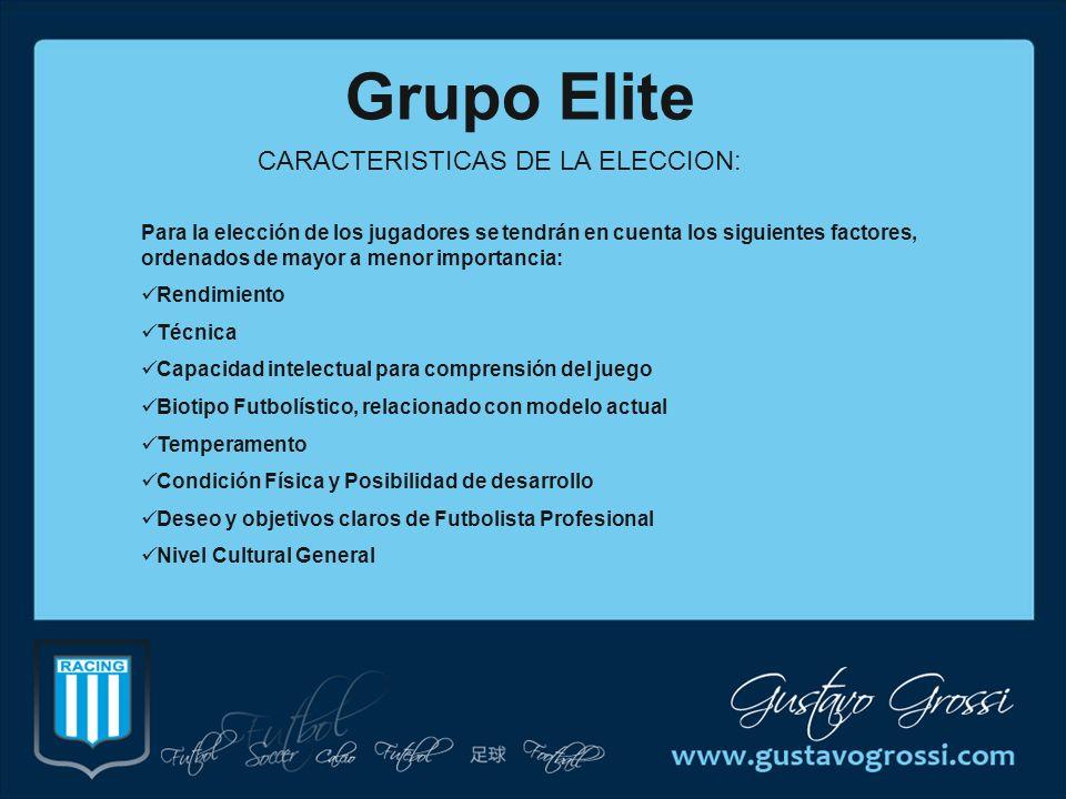 Grupo Elite CARACTERISTICAS DE LA ELECCION: Para la elección de los jugadores se tendrán en cuenta los siguientes factores, ordenados de mayor a menor