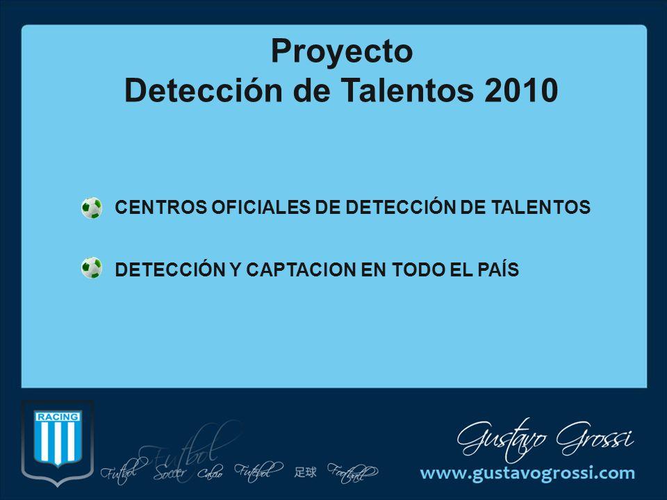 CENTROS OFICIALES DE DETECCIÓN DE TALENTOS DETECCIÓN Y CAPTACION EN TODO EL PAÍS Proyecto Detección de Talentos 2010