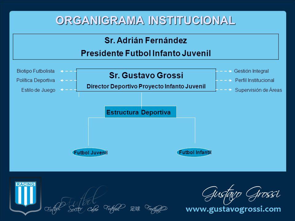 ORGANIGRAMA INSTITUCIONAL Sr. Adrián Fernández Presidente Futbol Infanto Juvenil Sr. Gustavo Grossi Director Deportivo Proyecto Infanto Juvenil Biotip