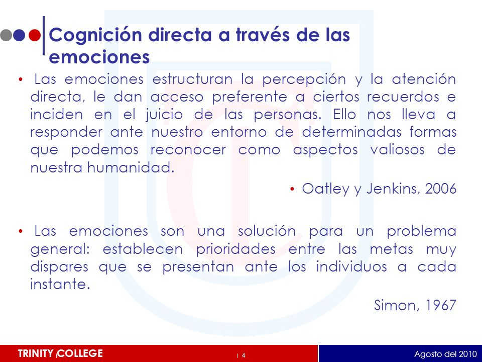 5 TRINITY COLLEGE La Senda Emocional (ejemplos de variables determinantes) Eficacia docente Compromiso Estrés Confianza Ánimo Agosto del 2010