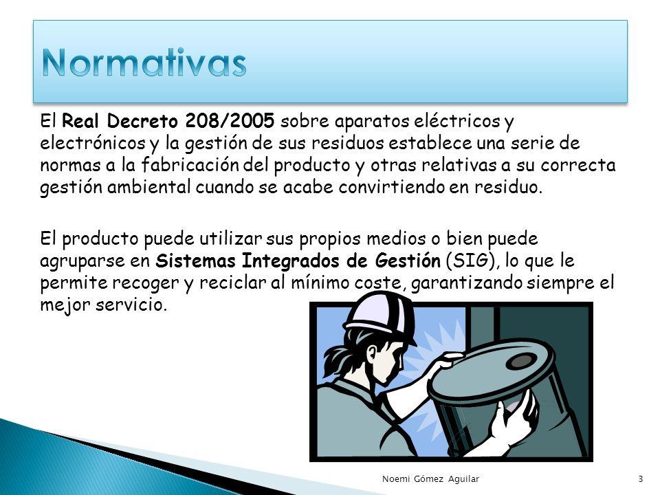 El Real Decreto 208/2005 sobre aparatos eléctricos y electrónicos y la gestión de sus residuos establece una serie de normas a la fabricación del producto y otras relativas a su correcta gestión ambiental cuando se acabe convirtiendo en residuo.