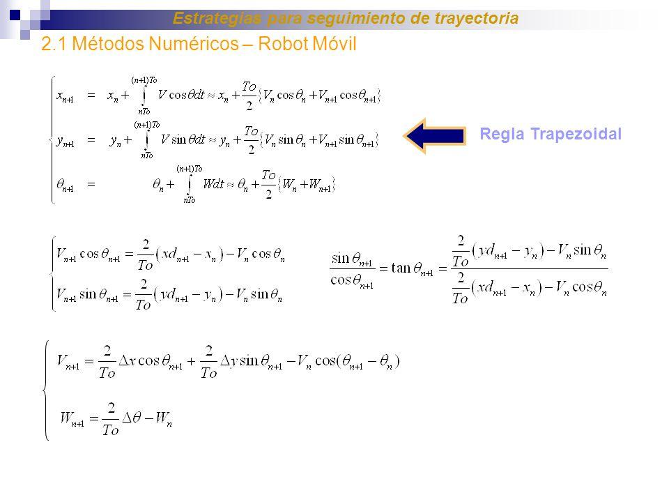 Regla Trapezoidal 2.1 Métodos Numéricos – Robot Móvil Estrategias para seguimiento de trayectoria
