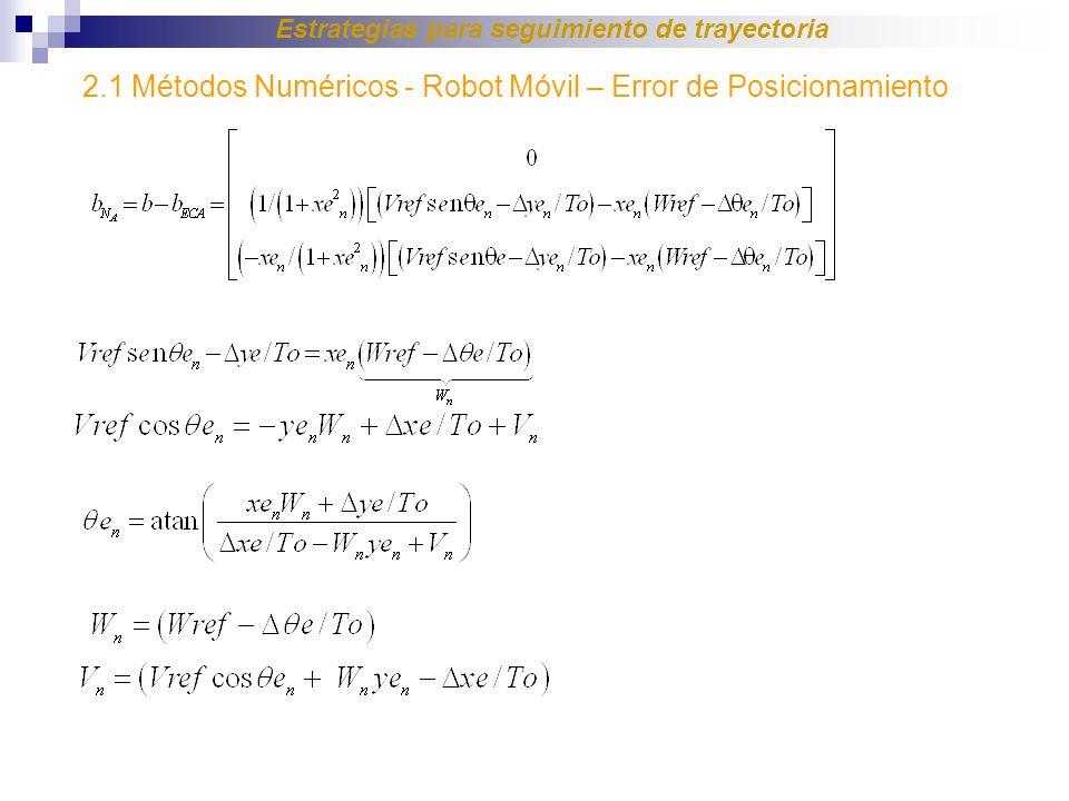 2.1 Métodos Numéricos - Robot Móvil – Error de Posicionamiento Estrategias para seguimiento de trayectoria