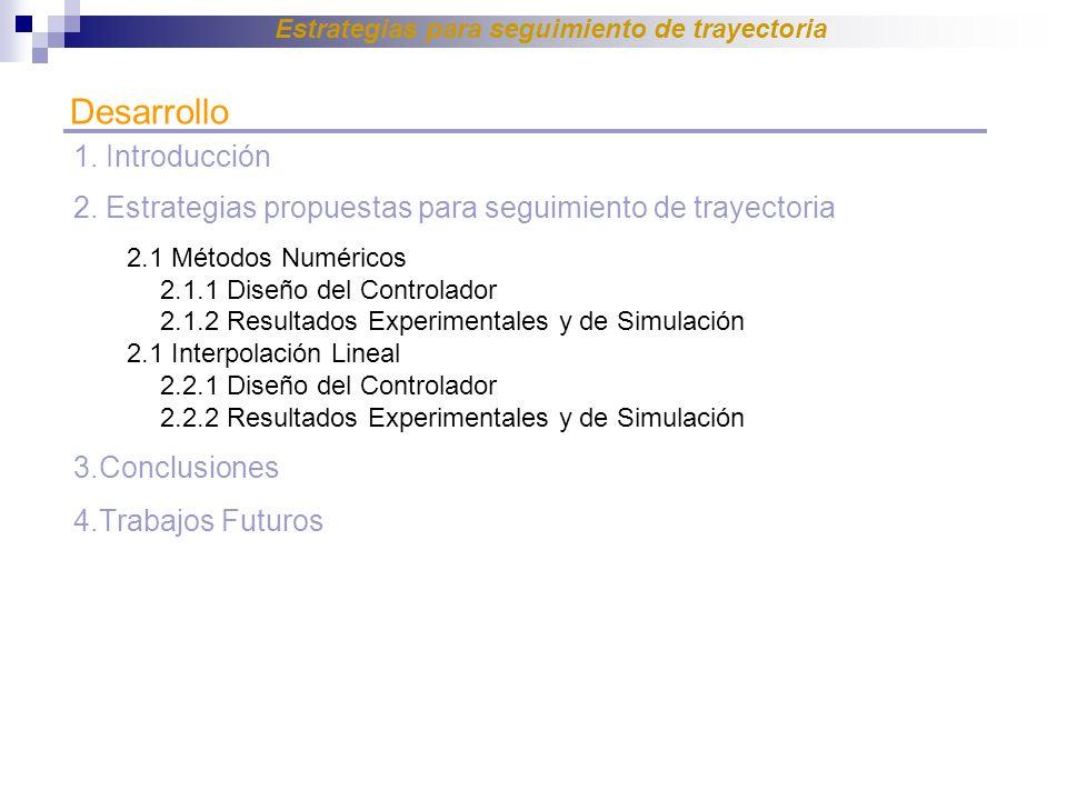 Desarrollo 1. Introducción 2. Estrategias propuestas para seguimiento de trayectoria 2.1 Métodos Numéricos 2.1.1 Diseño del Controlador 2.1.2 Resultad