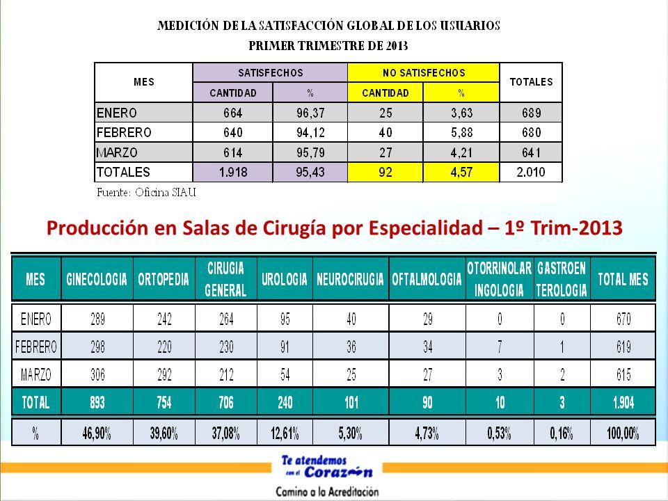 Producción en Salas de Cirugía por Especialidad – 1º Trim-2013