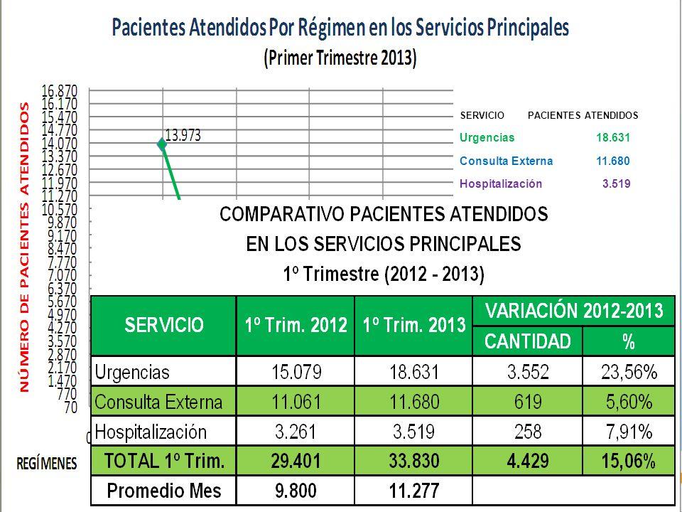 SERVICIOPACIENTES ATENDIDOS Urgencias18.631 Consulta Externa11.680 Hospitalización 3.519