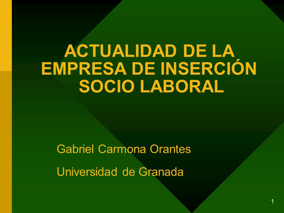 1 ACTUALIDAD DE LA EMPRESA DE INSERCIÓN SOCIO LABORAL Gabriel Carmona Orantes Universidad de Granada