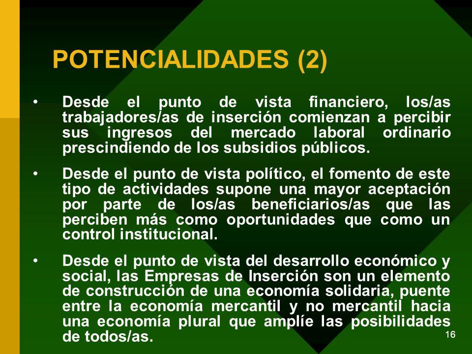 16 POTENCIALIDADES (2) Desde el punto de vista financiero, los/as trabajadores/as de inserción comienzan a percibir sus ingresos del mercado laboral ordinario prescindiendo de los subsidios públicos.
