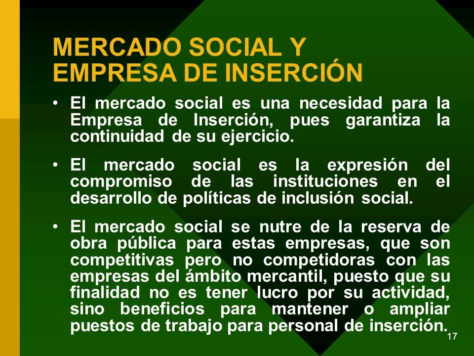 17 MERCADO SOCIAL Y EMPRESA DE INSERCIÓN El mercado social es una necesidad para la Empresa de Inserción, pues garantiza la continuidad de su ejercicio.