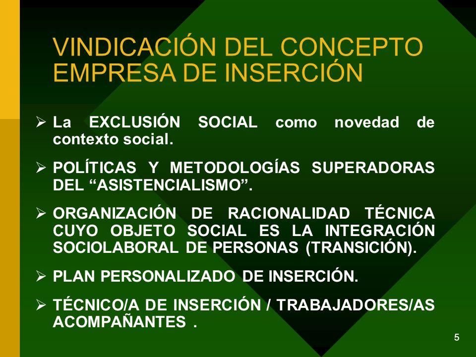 5 VINDICACIÓN DEL CONCEPTO EMPRESA DE INSERCIÓN La EXCLUSIÓN SOCIAL como novedad de contexto social.