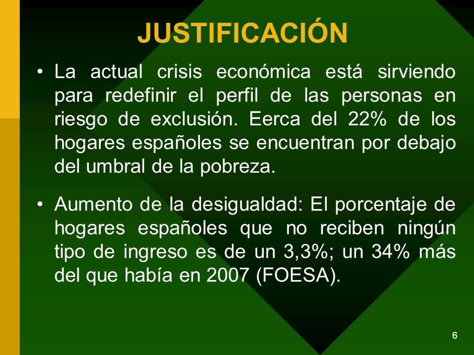 6 JUSTIFICACIÓN La actual crisis económica está sirviendo para redefinir el perfil de las personas en riesgo de exclusión.