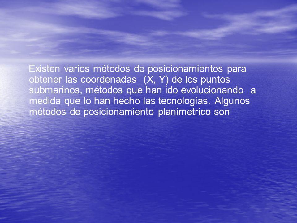 Existen varios métodos de posicionamientos para obtener las coordenadas (X, Y) de los puntos submarinos, métodos que han ido evolucionando a medida que lo han hecho las tecnologías.