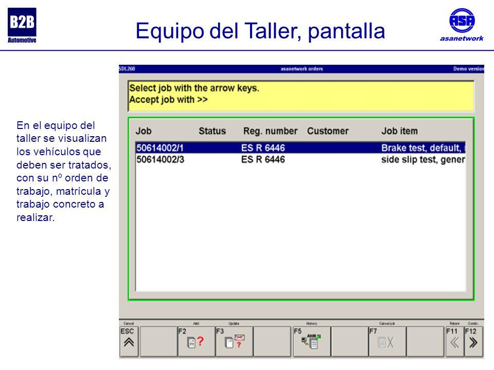 Equipo del Taller, pantalla En el equipo del taller se visualizan los vehículos que deben ser tratados, con su nº orden de trabajo, matrícula y trabajo concreto a realizar.