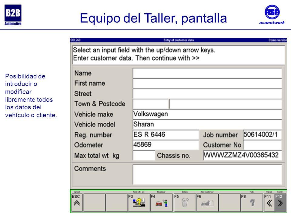 Posibilidad de introducir o modificar libremente todos los datos del vehículo o cliente.